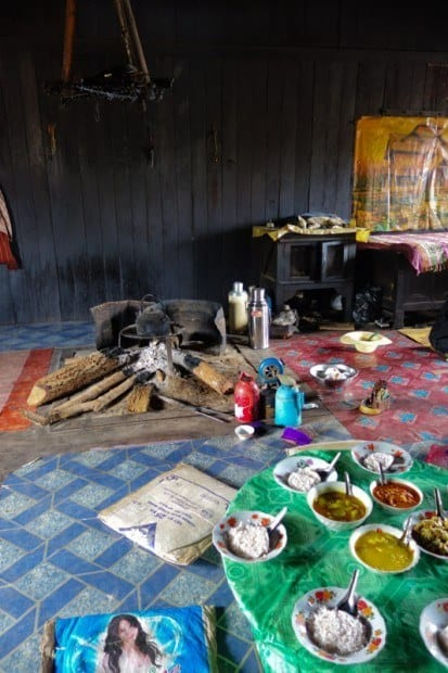 The kitchen and dining room at our homestay. Trekking In Hsipaw