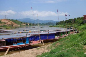 Slow boat to Laos waiting to depart. Chiang Mai Pai Chiang Rai Chiang Khong Luang Prabang Tips Cost Advice