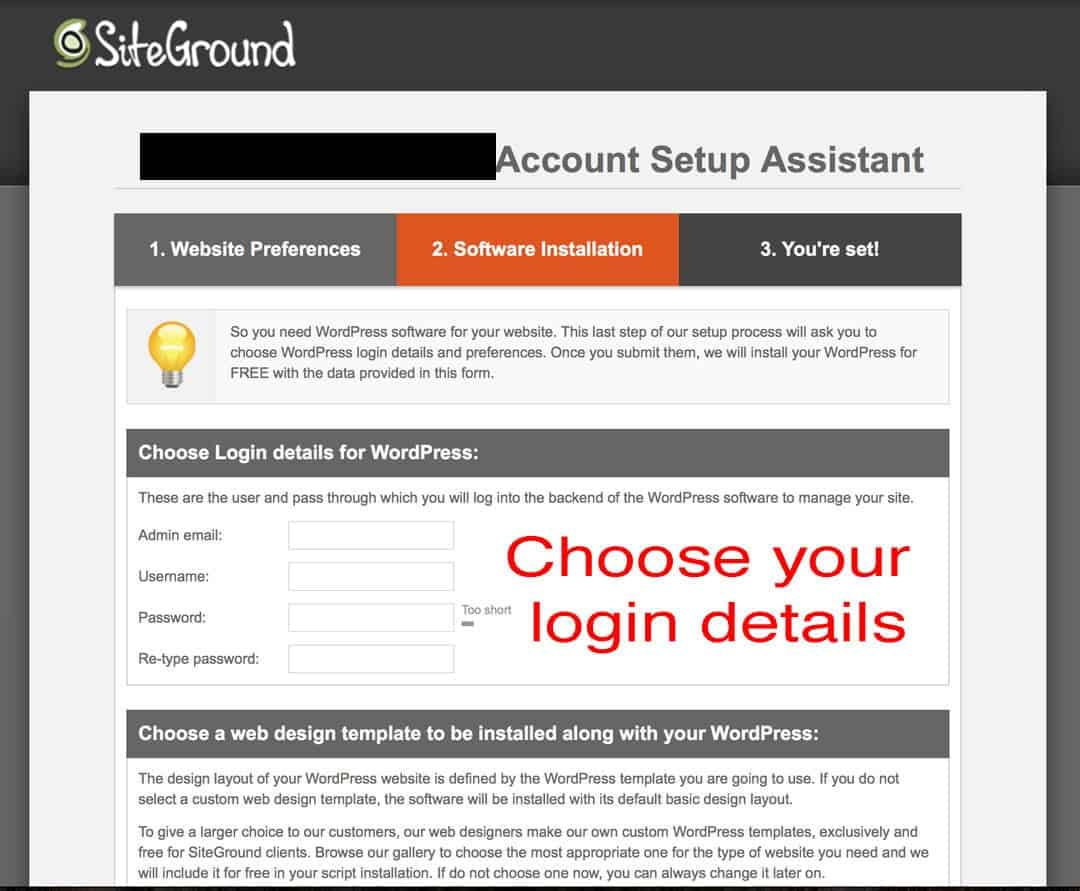 website login details