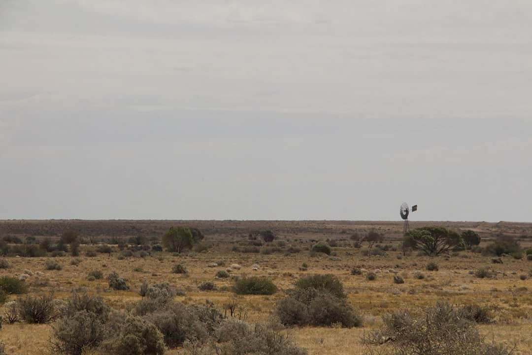 A lonely windmill in the desert